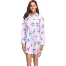 Womens Spring Cotton Flannel Pajamas Top Nightshirts Printed Nightgown Sleepwear Long Sleep Shirts For Women