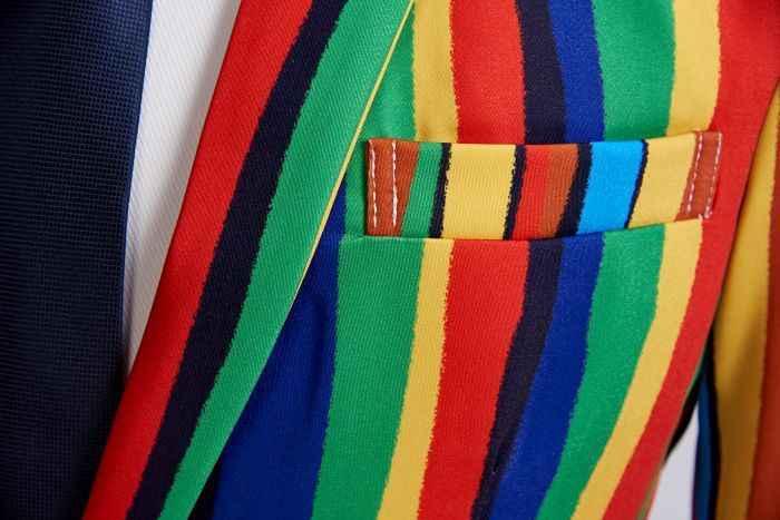 PYJTRL חדש Mens צבעוני פס הדפסת בלייזר עיצוב בתוספת גודל אופנתי מזדמן זכר Slim Fit חליפת מעיל הזמר לנשף מעיל תלבושת