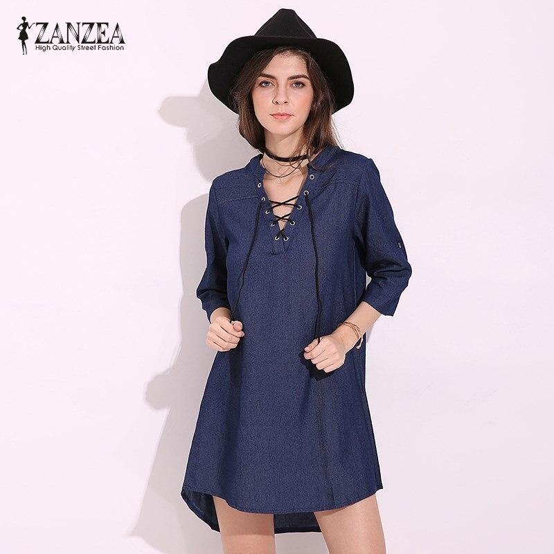 3e66e7c3 Detail Feedback Questions about 2018 ZANZEA Women Autumn Deep V Lace Up  Denim Blue Asymmetrical Hem Shirt Dress Plunge Vestido Solid Long Tops  Blusas Plus ...