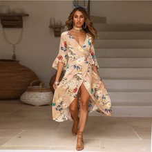 New Women Summer V Neck Vintage Long Maxi Floral Dress Split Crossed Flare Sleeves Red Khaki Party Beach Dress xl(China)