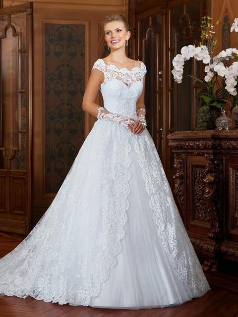 Vestido De Noiva Vintage Lace Wedding Dresses 2016 Cap Sleeves Sheer Back Gowns Bride