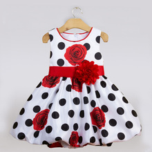 Cute Sleeveless Dot Dress One Year Royal Blue and White Flower Baby Girl Dresses Size 1 To 2 Princess Formal Baptism Clothing