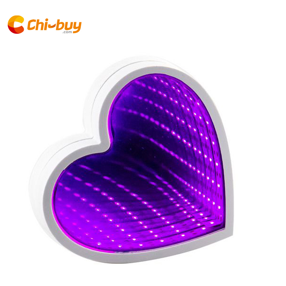 Chibuy USB Heart Led Light Infinity Mirror Tunnel Lamp Mirror Tunnel light Home LED Decoration Light Sign Illusion Mirror Lamp