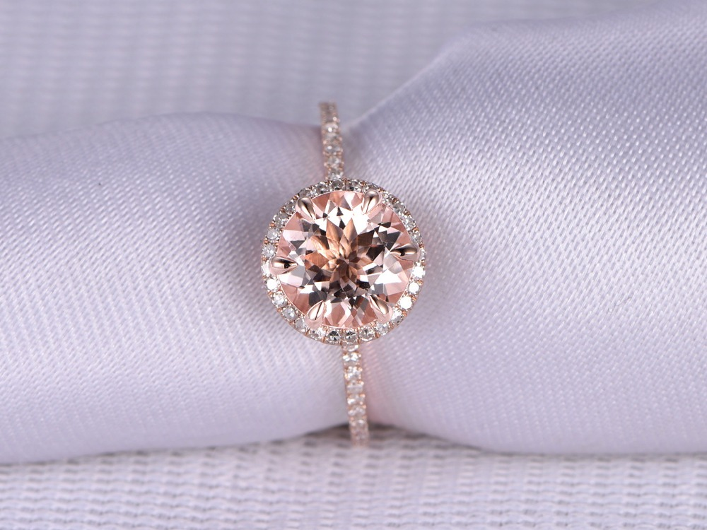 8mm Round Natural Pink Morganite 6 Prong Diamond Halo Wedding Ring Engagement Anniversary Ring Band Solid 14k Rose Gold Art Deco solid 14k rose round 13mm gold diamond natural blue topaz ring wedding ring hot sale