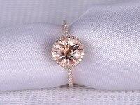 8mm Round Natural Pink Morganite 6 Prong Diamond Halo Wedding Ring Engagement Anniversary Ring Band Solid 14k Rose Gold Art Deco