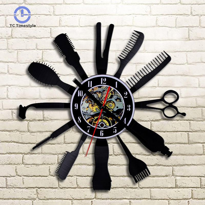Creative Wall Clock Modern Design Barber Hair Beauty For Shop Classic Cd Record Wall Clocks Home Decor Silent Watches
