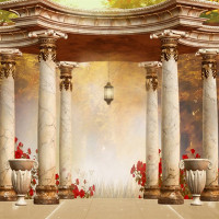 Vintage Pavilion Stone Pillars Garden Wedding Photo Background Printed Red Flowers Nature Scenic Fantasy Photography Backdrops