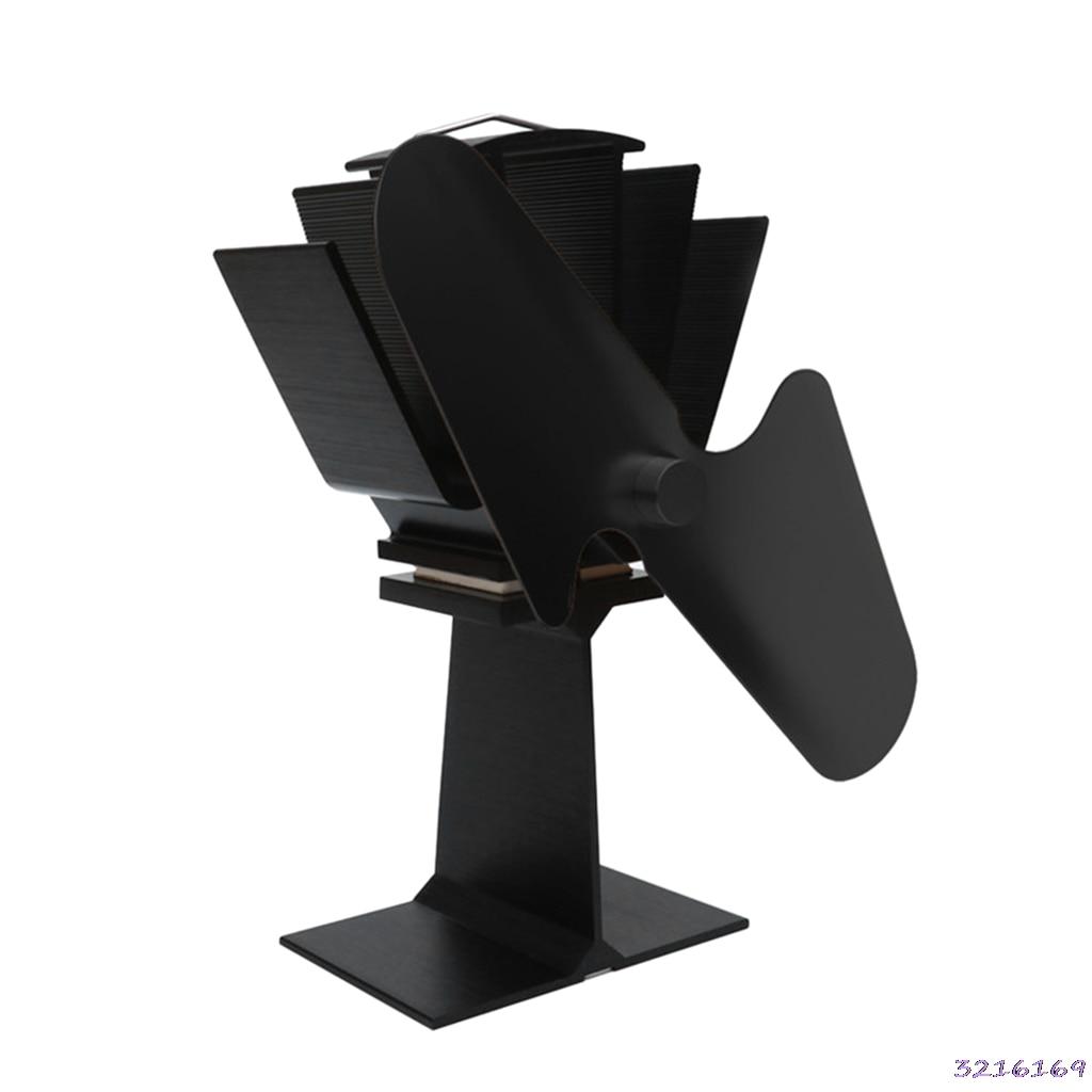 2 Blades Heat Powered Stove Top Fan Aluminium Silent Eco-Friendly Fuel Saving For Wood Log