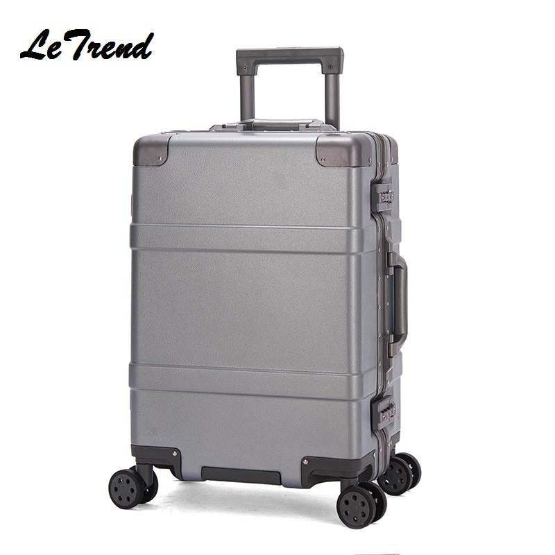 New Fashion 20 24 Inch Rolling Luggage Aluminium Frame Trolley Solid Travel Bag 20' Women Boarding Bag Carry On Suitcases Trunk