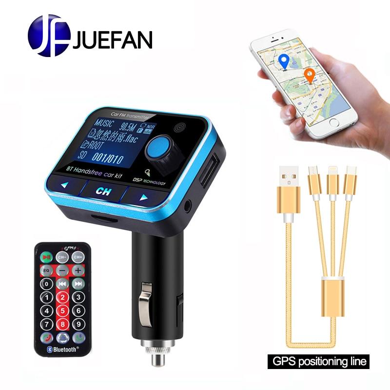 Kit de voiture mains libres sans fil Aux Bluetooth lecteur MP3 transmetteur FM adaptateur Radio chargeur de voiture usb + télécommande LCD + ligne gps