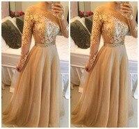Vestidos de gala простые элегантные, цвета шампанского платье для выпускного вечера длинный рукав средней длины Appiqued Тюль Вечеринка платья