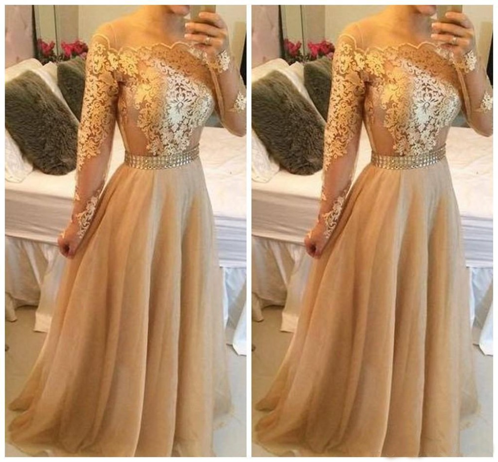vestidos de gala Simple Elegant Champagne   Prom     Dress   Long Sleeve Boat Neck Appiqued Tulle Evening Party   Dresses
