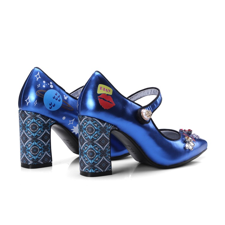 Stilettos Heels Design Blau Frauen Spitz Frau Echtes Sexy Mary Janes Schuhe Gladiator Pumpen Blaue silber Leder High X6w8Z6qrxy