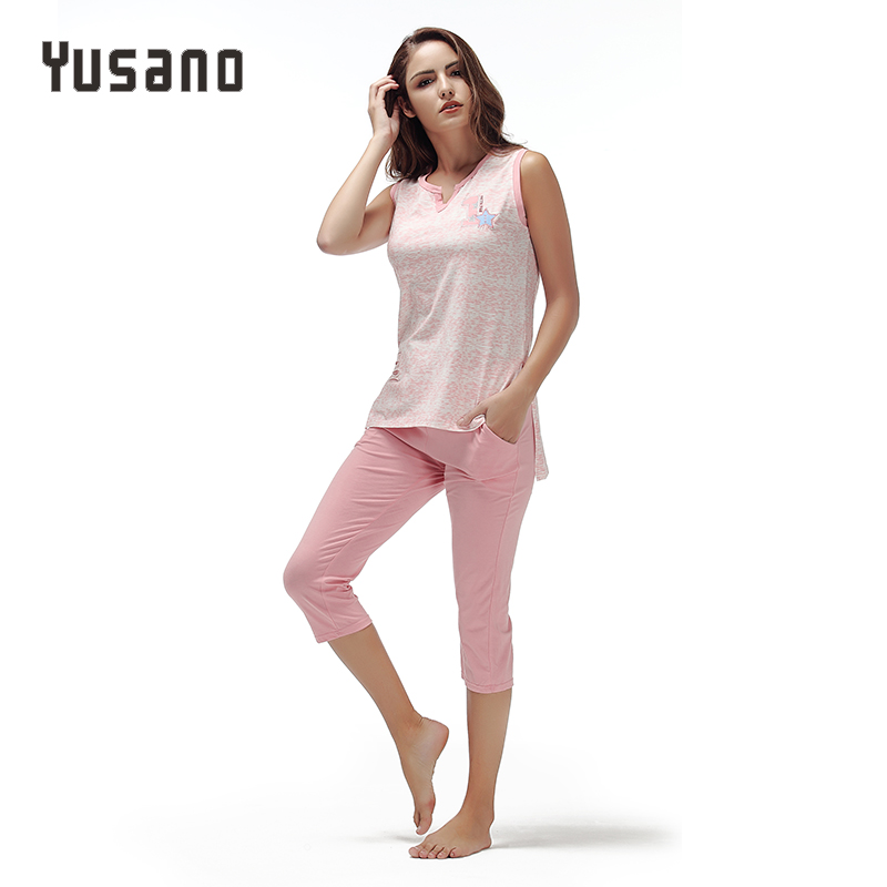 Yusano 2017 Unicorn   Pajamas     Set   Women Blue Pink V-neck Sleeveless Sleepwear Sexy Print Tops+Calf-length Pants Sleep Nightwear