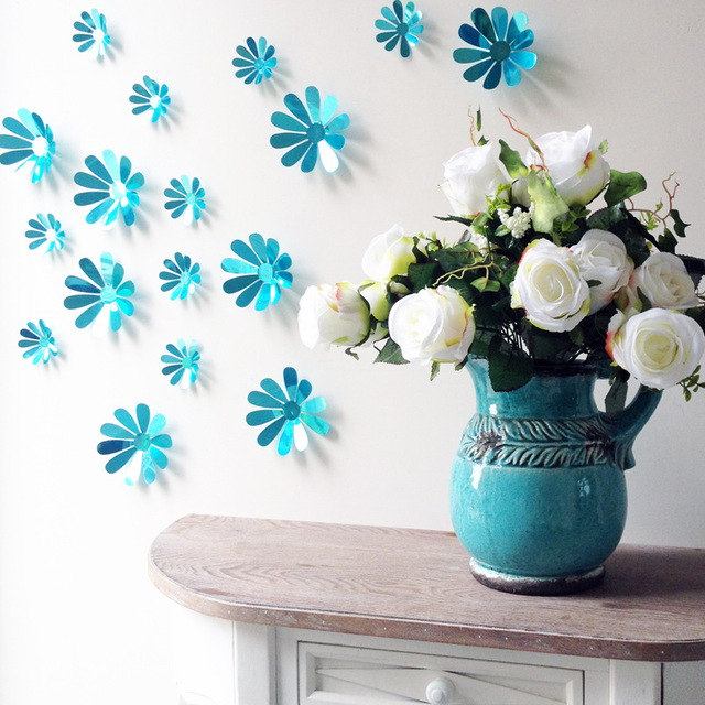 creative pvc room wall decals 3d flowers wall stickers home