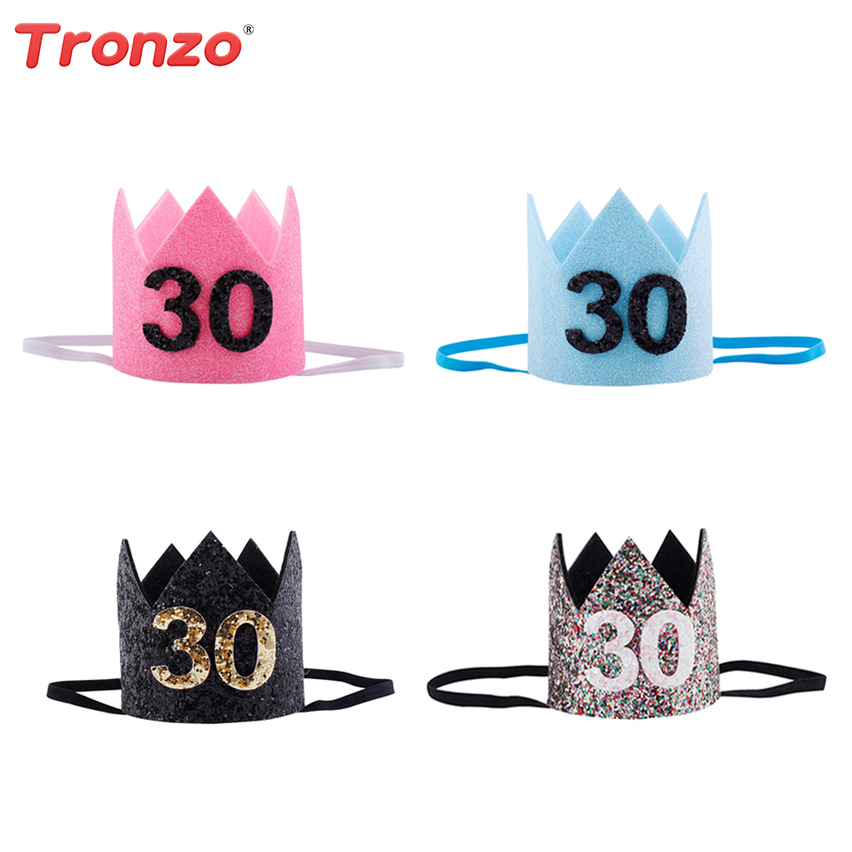 Tronzo 30th Birthday Party Hats Decorations Adult Crown Headband Marriage Anniversary