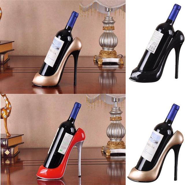 Resin High Heel Shoe Shaped Wine Bottle Holder Stylish Wine Shelf Rack  Wedding Party Gift Home Kitchen Bar Accessories 3028e8c2ee6d