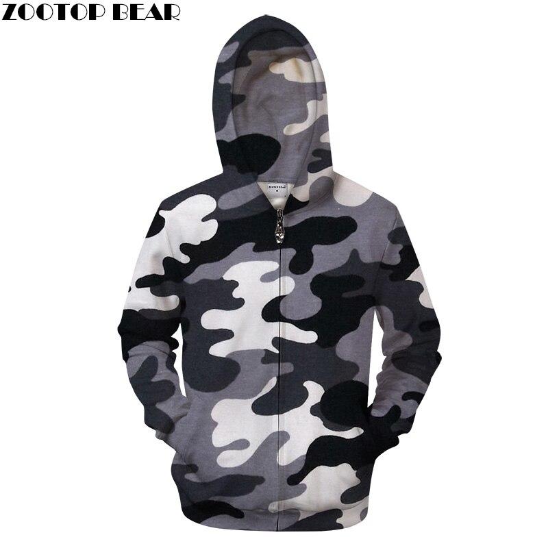 Men Zipper Hoodie Brand Hooded 3D Zip Hoody Casual Camo Tracksuit Male Sweatshirt Autumn Coat Print Pullover Dropship ZOOTOPBEAR