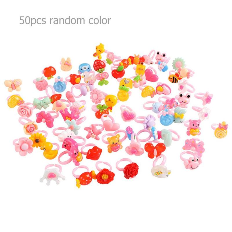 50pcs Children Plastic Ring Cartoon Animal Finger Ring For Kids Birthday Party Beauty Fashion Toy Colorful Girl Pretend Play Toy