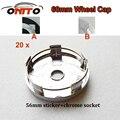 20 pcs 60mm emblema do carro tampa da roda emblema v40/v60/s60/s60l/xc60 etiqueta chrome base de alumínio etiqueta de alumínio auto roda logotipo cap