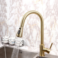 Brushed Gold Kitchen Faucet Hot and Cold Mixer Tap Kitchen Single Handle Tap Black Pull Out Faucet Deck Mounted Sink Crane