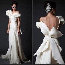 High End Abendkleider Elfenbein Lange V ausschnitt Bodenlangen Formale Kleider Vestidos Abendkleid Araber Mit Riesige Bogen Zurück