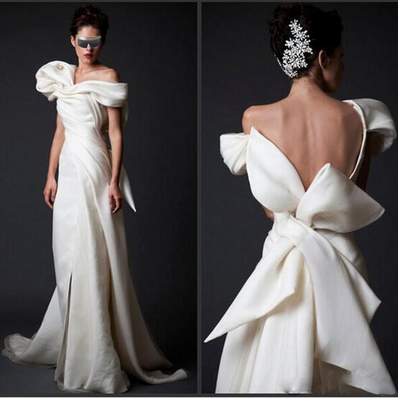 High End   Evening   Gowns Ivory Long V Neck Floor Length Formal   Dresses   Vestidos   Evening     Dress   Arabian With Huge Bow Back
