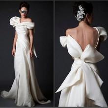 Wysokiej klasy suknie wieczorowe Ivory długi dekolt V długość podłogi sukienki wizytowe Vestidos suknia wieczorowa Arabian z ogromnym kokardką