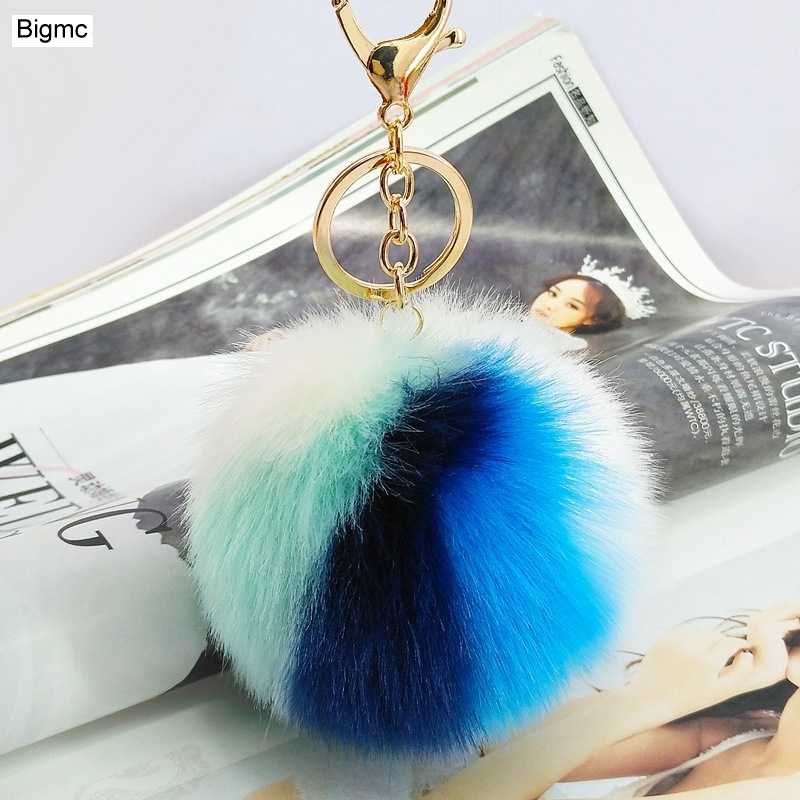Moda Mix Color ball Chaveiro Cor Faux Fur Pompom Pingente chave Da Cadeia de nova Adorável Chave Titular carro feminino chaveiro jóias K1679