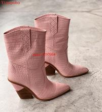 2019 Fashion Cowboy Ankle Boots Women Shoes Pu Leather Wedge Chunky High Heel Snake Print Western Cowgirl Black PINK
