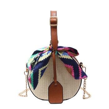 HISUELY 2019 Bohemian saman torbaları Kadınlar için Büyük Daire Plaj Çanta Yaz Vintage kamış örgü çanta El Yapımı Örme Seyahat Çantaları