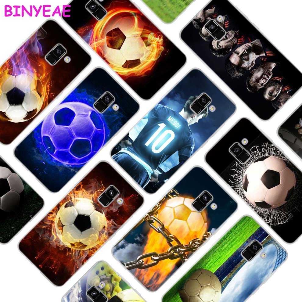 BINYEAE Fire Football Soccer Style Clear Soft TPU Phone Cases Cover for Samsung A5 A3 A7 A8 2017 2016 2018