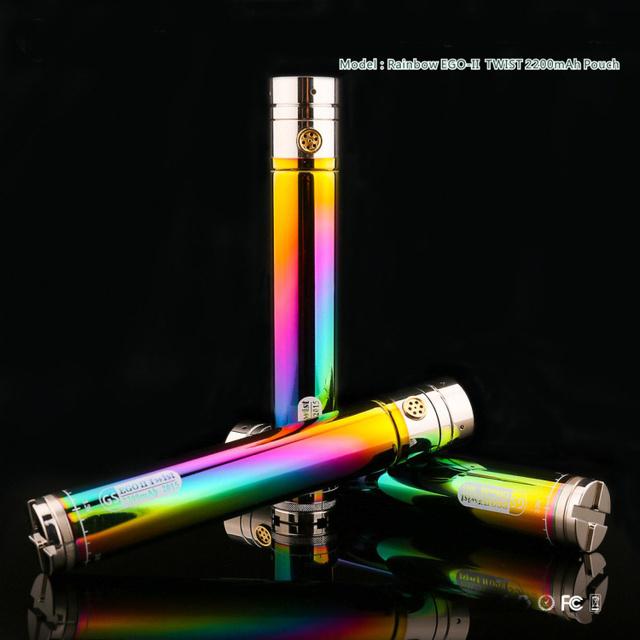 Rainbow eGo II giro 2200 mah batería e-cigarrillo Inferior Giro de Voltaje Variable 3.3 v-4.8 v Ajuste 510 hilo Ego Atomizador