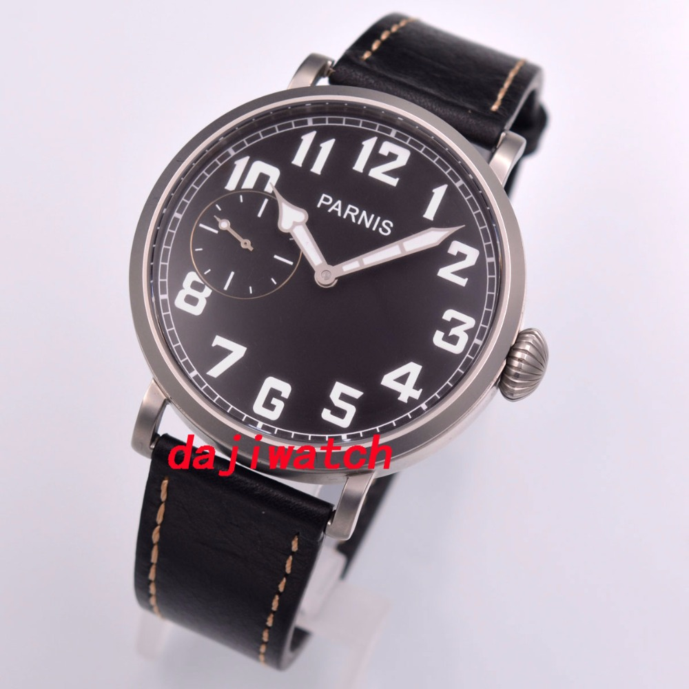 46mm parnis 핸드 와인딩 6497 기계식 시계 샌드 블라스팅 케이스 블랙 다이얼-에서기계식 시계부터 시계 의  그룹 1