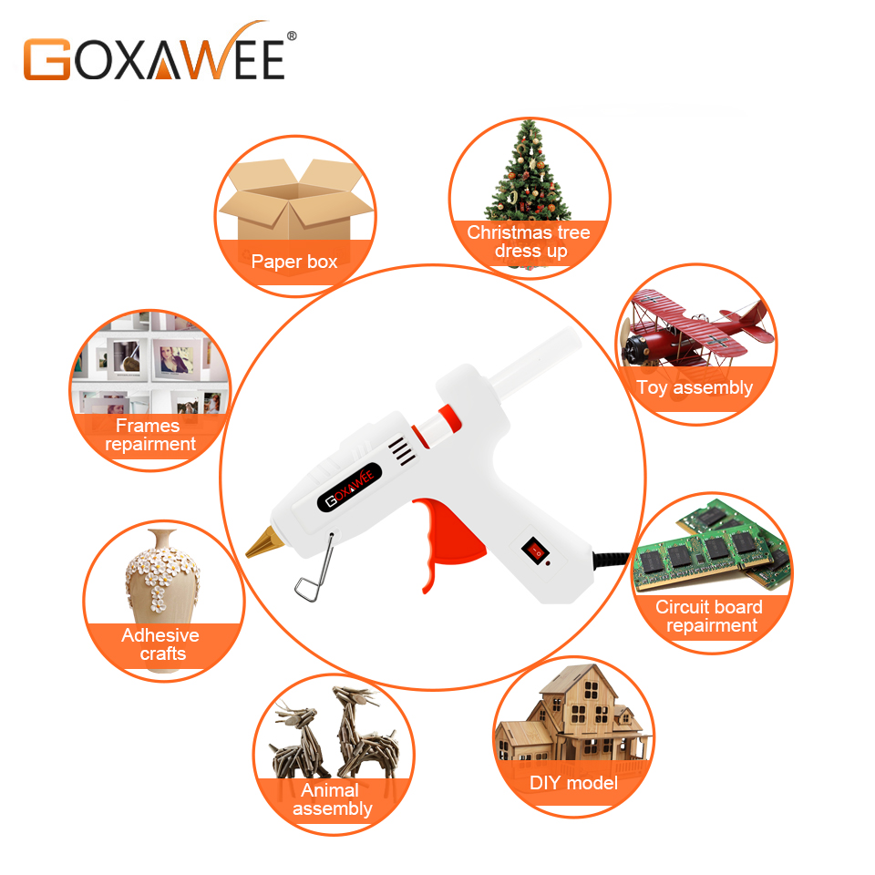 Image 5 - GOXAWEE 34pcs Hot Melt Glue Gun Set Mini Electric Professional DIY High Temp Heat Melt Repair Tool With Hot Melt Glue Sticks-in Glue Guns from Tools on