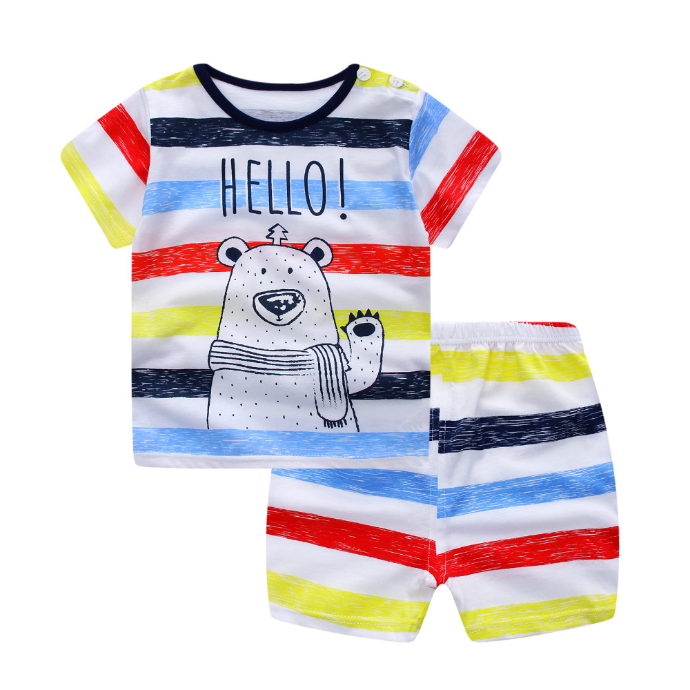 Baby boy clothes 2017 summer kids clothes sets t-shirt+pants suit clothing set bear Printed Clothes newborn sport suits summer baby boy clothes set cotton short sleeved mickey t shirt striped pants 2pcs newborn baby girl clothing set sport suits