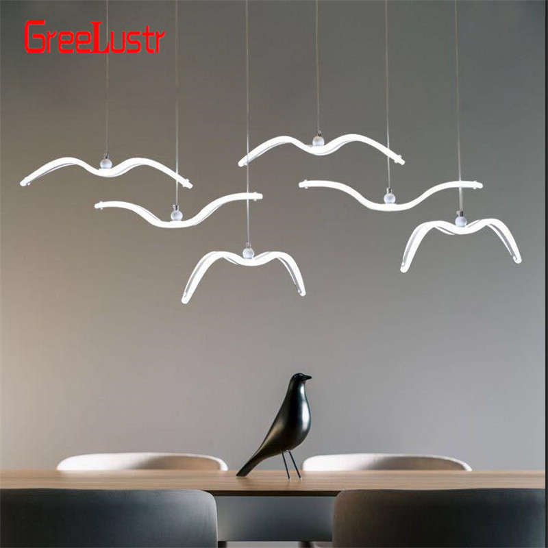 Nordic Seagull Design Led Chandeliers For Bar Kitchen Birds Chandelier Ceiling Acrylic Lustre Suspension Luminaire Light Fixture
