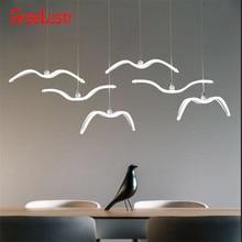 Nordic Seagull Design żyrandole sufitowe Led do baru/kuchni ptaki żyrandol sufitowy akrylowy Lustre zawieszenie oprawa oprawa oświetleniowa