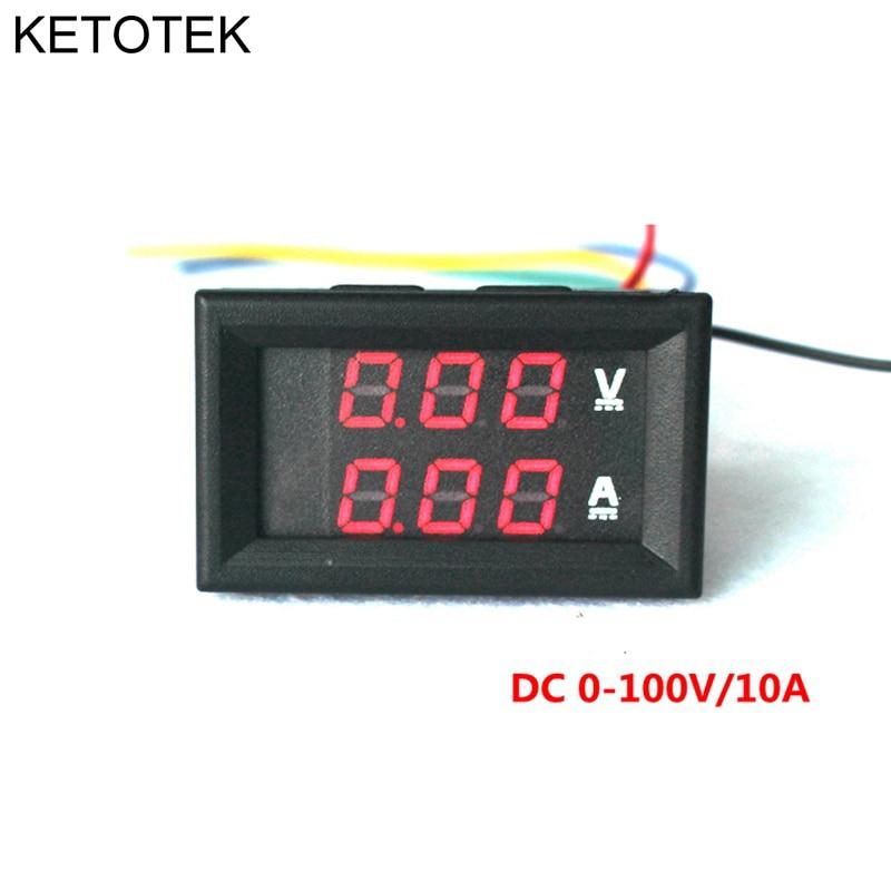Red dc 0 100v 10a ammeter voltmeter gauge amperemeter volt for Gartenpool 10 meter