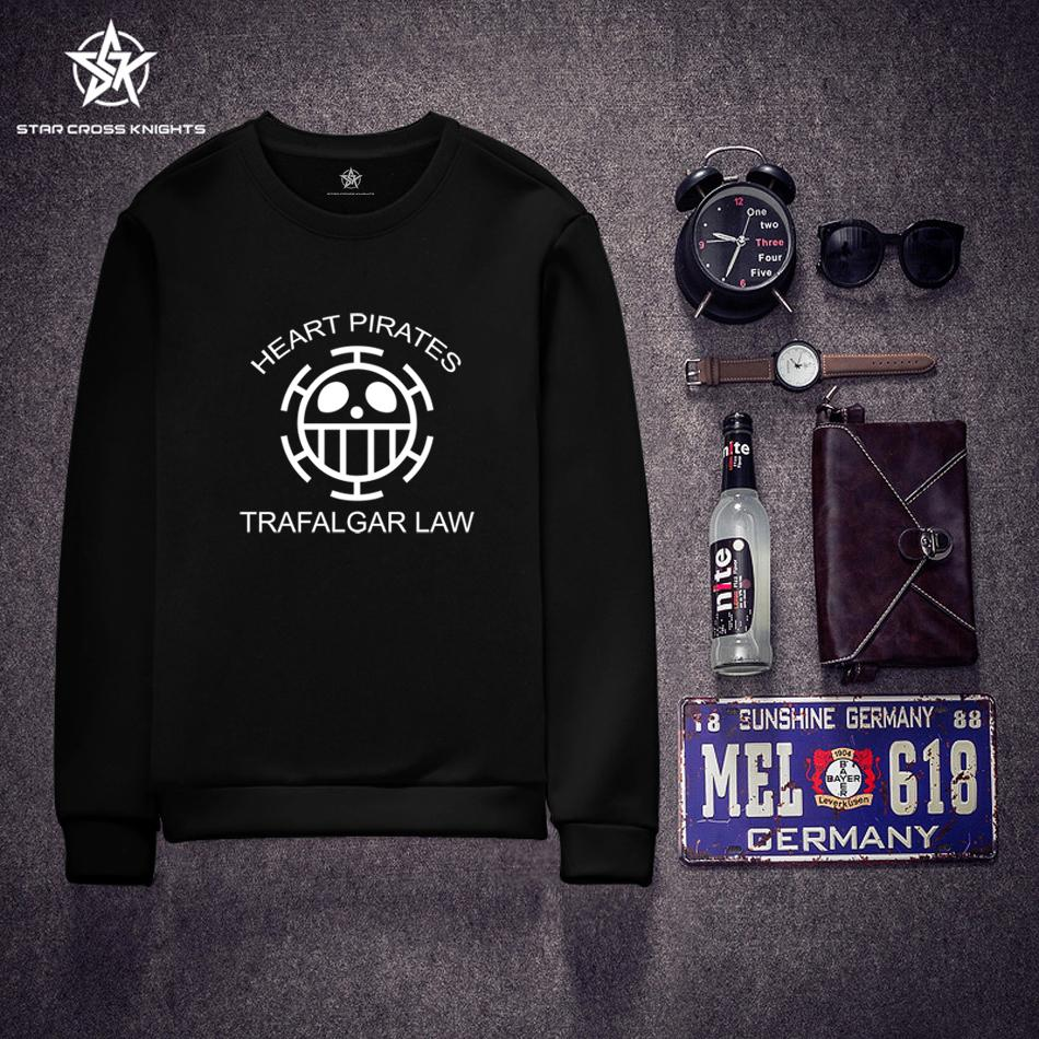 Anime Men Hoodies Trafalgar Law ONE PIECE Sweatshirts For Male White O-neck Pullover Casual Cartoon Boy Men Brand Clothing