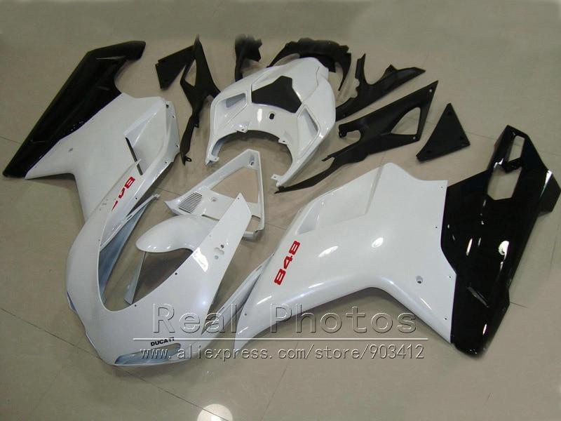 Bodywork fairing kit for Ducati 848 1098 07 08 09 10 11 white black fairings set 848 1198 2007-2011 DY65 hot sales for 2007 2008 2009 2010 2011 ducati 848 1098 1098s 1198 07 08 09 10 11 abs motorcycle fairing kit injection molding
