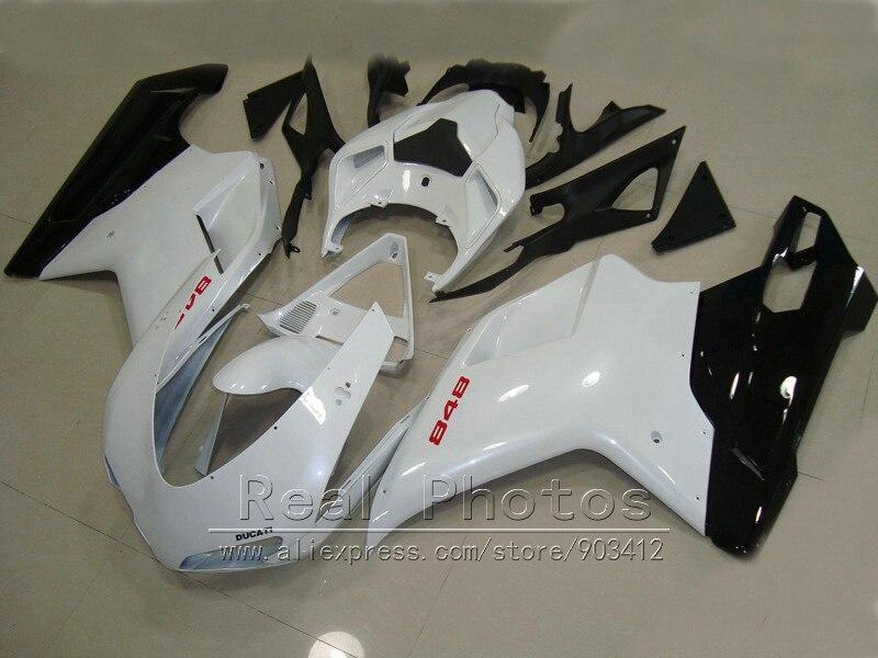 Carrosserie carénage kit pour Ducati 848 1098 07 08 09 10 11 blanc noir carénages set 848 1198 2007-2011 DY65