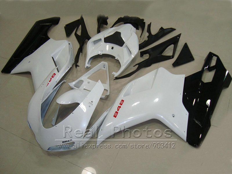 Carrozzeria kit carena per Ducati 848 1098 07 08 09 10 11 bianco nero carenature set 848 1198 2007-2011 DY65