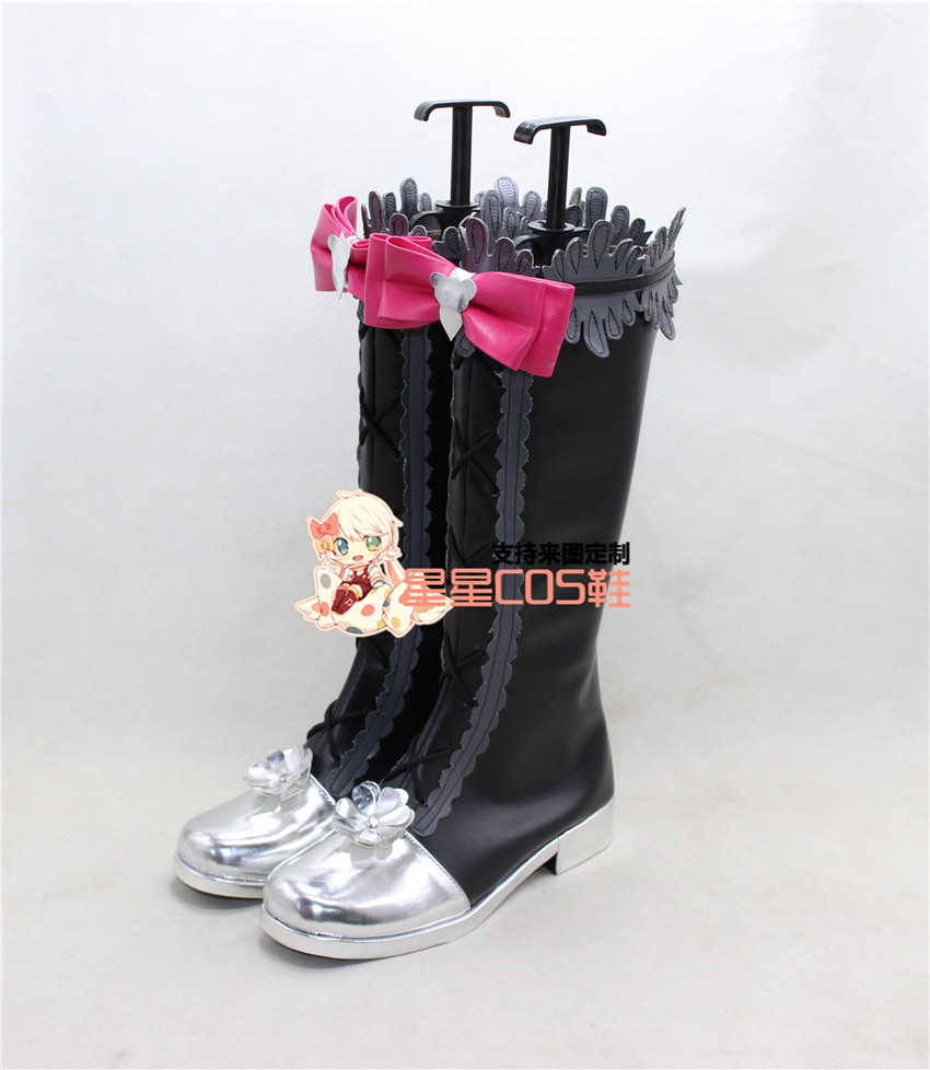 LoveLive! Love Live Maki Nishikino Black Gray Cosplay Shoes Boots X002