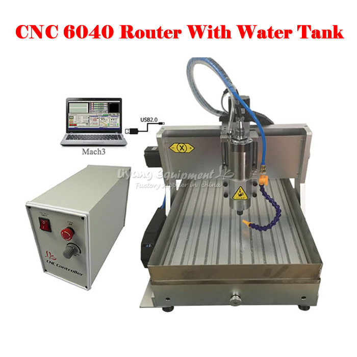 LY CNC 6040 Z-VFD 1.5KW USB 3axis CNC Router Milling Machine limit switch with water tank 2 2kw 3 axis cnc router 6040 z vfd cnc milling machine with ball screw for wood stone aluminum bronze pcb russia free tax