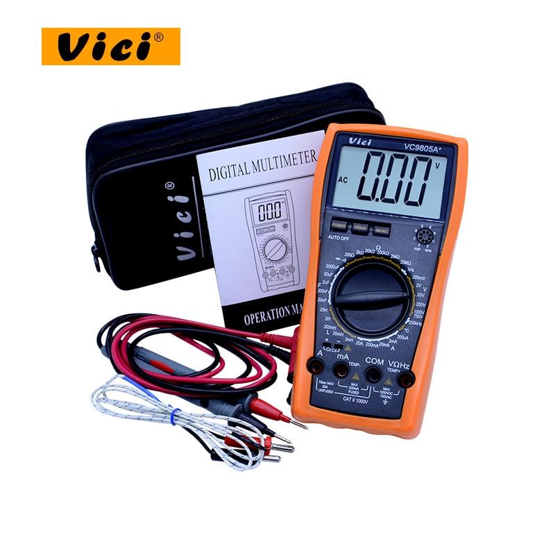 VICI VC9805A + Digital Multímetro tester AC DC Voltímetro Amperímetro 20 H Indutância Capacitância Frequência Temperatura & hFE Tester