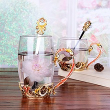 milk juice cups Creative enamel flower coffee European style heat-resistant glass