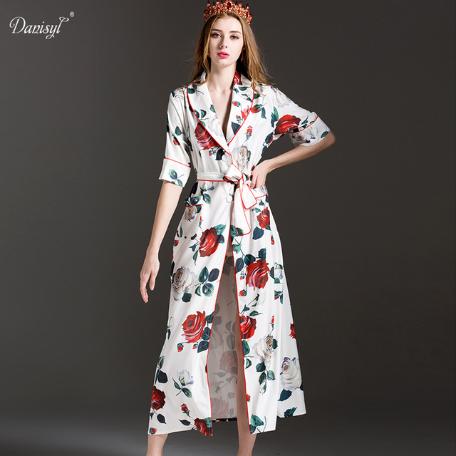 b4f8dfef161 2017 New Summer Autumn European Luxury Rose Print Long Dress Pajamas Style  Runway Designer Brand Adjustable Wasit Maxi Dresses