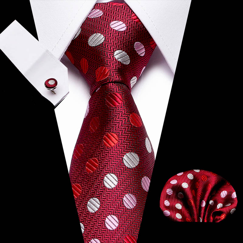New Wine Red Polka Dot Men Ties Set Extra Long Size 145cm*7.5cm  Necktie 100% Silk Jacquard Woven Neck Tie Suit Wedding Party