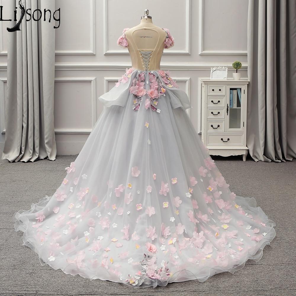 Smoking Gray Floral Wedding Dresses Floor Length Hem Womens Dreaming ...